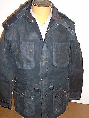Barbour Department B Waxed Cotton Hooded Radar Jacket NWT Large $639 Navy