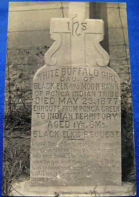 Vintage RPPC White Buffalo Girl Gravestone Died 1877 Enroute To Indian Territory