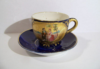 Antique Courting Couple Cobalt Blue & Gold Cup and Saucer
