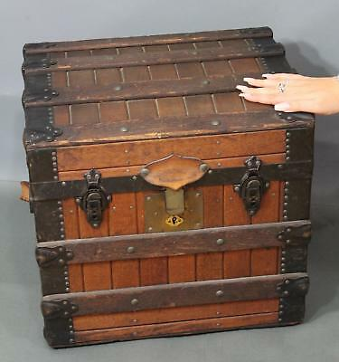 Small 19thC Antique Excelsior Wood Slat Dome-Top Travel Half Trunk