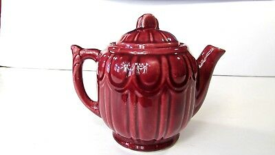 Vintage Shanee Pottery Teapot With Lid Burgandy 1940's Marked Usa