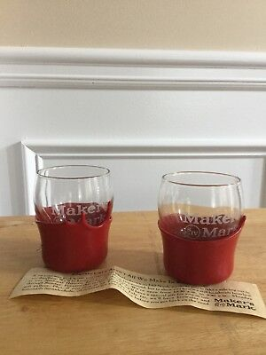 2 New Makers Mark Bourbon Red Wax Dipped Rocks Glasses w/50th Anniversary Stamp