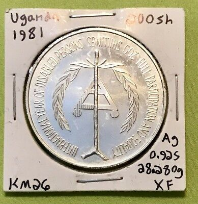 Large Silver Coin. 1981 Uganda 200 Shillings.