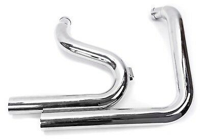 """Chrome Stacked Exhaust Drag Pipes LF Upsweep Header 2 1/4"""" Harley Softail (BLEM)"""