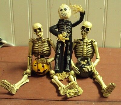1980's-90's Halloween Decorations, 3 Skeleton Toys