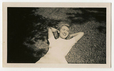 Pretty Woman Sunbathing Grass Smile Shadows Vintage Snapshot Photo