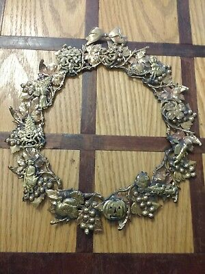 "Dresden Style Metal Brass Copper Wreath All Seasons Holiday 13"" Wall Hanging"