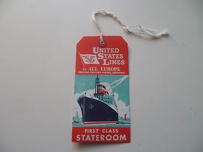 "ancienne étiquette bagage du paquebot -""UNITED STATES""- old liner luggage label"