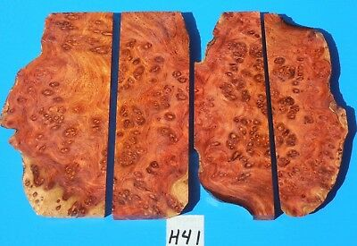 4 Pieces Amboyna Burl~Knife Handle Grip~Insert~ Inlay~Jewelry Making~Exotic Wood