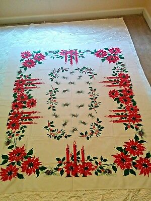 Vintage Christmas Poinsettia Pinecone Candle Holiday Tablecloth ,Red ,Green