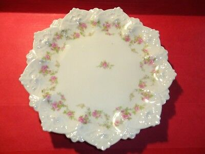 "M Z Austria Pink Rose Plate 7.5"" 18 Point Molded Moritz Zdekaker 1884-1909"