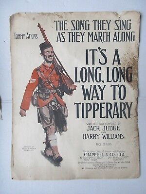 """RARE PATRIOTIC WWI Sheet Music, """"LONG WAY TO TIPPERARY"""" March, Scottish Uniform"""