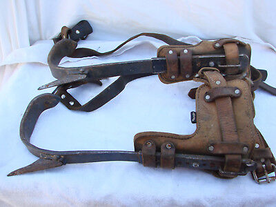 Buckingham Tree Pole Climbing Lineman Spikes Gaffs w/Weaver Straps Cuffs