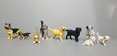 Schleich Animals lot of 9 Dogs German Shepherd Labrador Dalmatian Saint Bernard