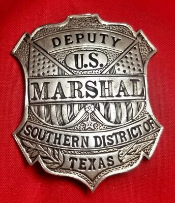 Antique Coin Silver Deputy US Marshall Badge Southern District Of Texas `Marked