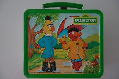 "Sesame Street Metal Lunchbox w/ Metal Thermos ""Seasons"" Circa 1983 Vintage"