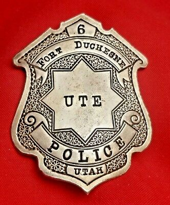 Antique Coin Silver UTE Police Officer Fort Duchesne, Utah` Badge #6 ` Marked