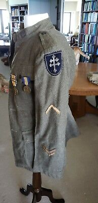 World War 1 U.S. Army winter uniform tunic and gas mask, 79th Division