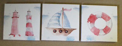 Set of 3 Nautical Red White Blue Lighthouse Sail Boat Canvas Wall Art Pictures