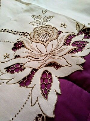 """Exquisite Embroided and Cutwork Floral Design Madeira Linen Tablecloth 51""""x 50"""""""