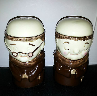 """VINTAGE WEISS BRAZIL """"Friar Chucky"""" SALT & PEPPER SHAKERS with EGG CUPS!!!"""