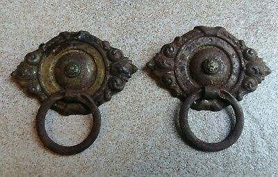 Lot of 2 Antique Cast Metal Drawer Pulls Hardware Rusty Victorian Salvage Find