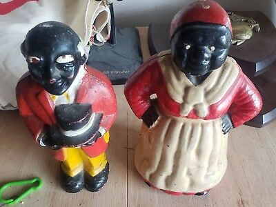 Vintage aunt jemima and Uncle Owen cast iron bank