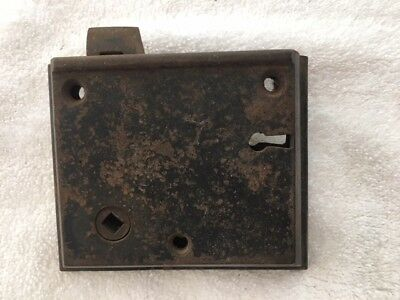 Antique R H & Co. Cast Iron Mortice Lock with Dead Bolt.