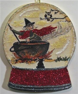 Glittered Wood Halloween Water Globe Ornament Witch Stirring Cauldron VTG IMG