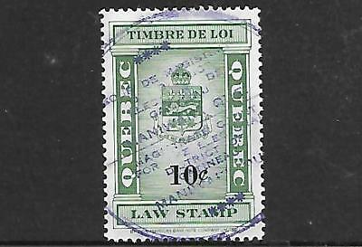 Canada Province Of Quebec Law Stamp #ql109 (Used) From 1924