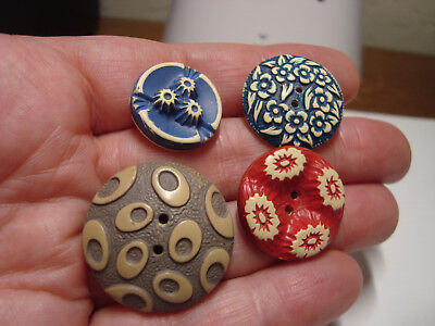 Antique Vintage LOT of 4 BUFFED CELLULOID buttons