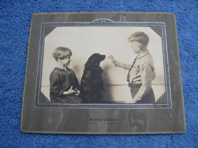 South Dakota Vtg Charming Photo Two Children with Dog Ice Cream Cone c.1900-1920