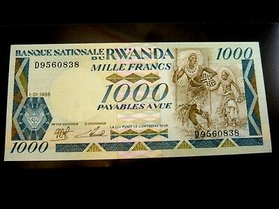1988 National Bank of Rwanda $1.000 Francs Banknote crisp unc high grade note