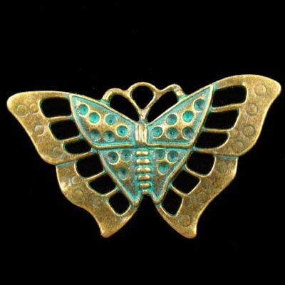 F41735 Carved Brass Bronze Butterfly Pendant Bead 57x35x3mm