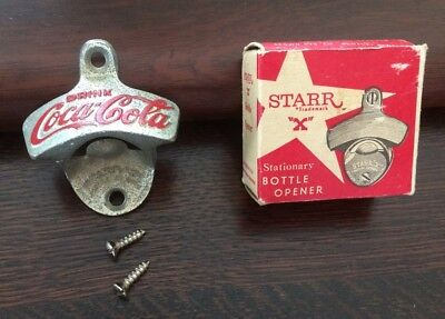 Vintage Star X Brown Co. Drink Coca-Cola Wall Bottle Opener W/ Box and Screws