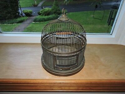 Vintage Antique Hendryx Brass Hanging Table Bird Cage Beehive Shape