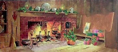 Americana Christmas Colonial Cast Iron Kitchen Hearth Vintage Xmas Card 1970's