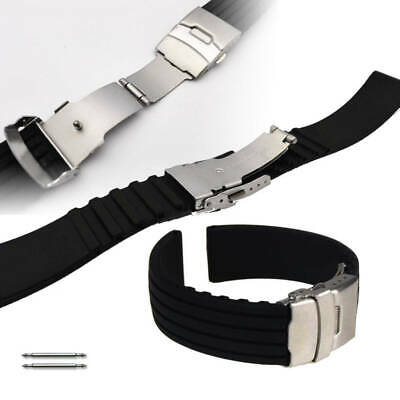Black Rubber Silicone Replacement Watch Band Strap Double Locking Buckle #4011