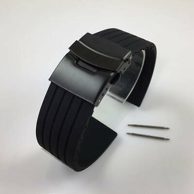 Black Rubber Silicone Replacement Watch Band Strap PVD Double Locking Buckle #12