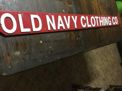 Huge Vintage Store Sign- Old Navy Co Double Sided--Hanging Sign-48X4-Metal Sign