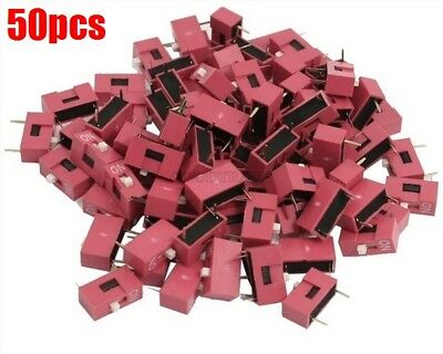 50Pcs Slide Type Switch 1-Bit 2.54MM 1 Position Dip Red Pitch US Stock x