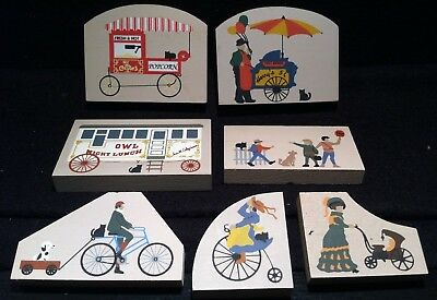 The Cat's Meow Shelf Sitters ~ Lot of Hot Dog Cart, Popcorn, Bicycles