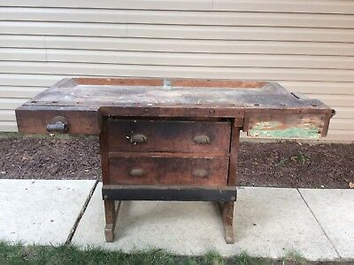 Antique Carpenters Workbench / Kitchen Island Table - 2 Screw Vice + 2 Drawers
