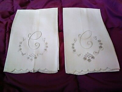 """2 Beautiful Appenzell or Madeira Embroidered  Linen Hand Towels 17"""" by 12"""""""
