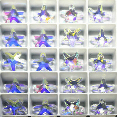 Lot Necklace DIY Starfish Glass Pendant Crystal Colorful Jewelry Finding