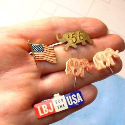 Lot of (5) Vintage American GOP Elephant --One Dated--LBJ Fold Over--Flag-- Pins