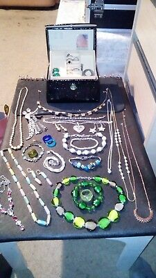 large collection of antique and vintage jewellery plus jewellery box...
