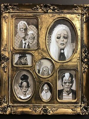 HAUNTED HOUSE FAMILY PORTRAIT SET!  Original Halloween Painting by Mike Hoffman!