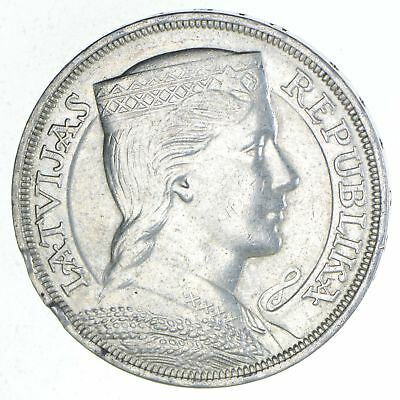 Roughly Size of Silver Dollar - 1931 Latvia 5 Lati - World Silver - 25g *618