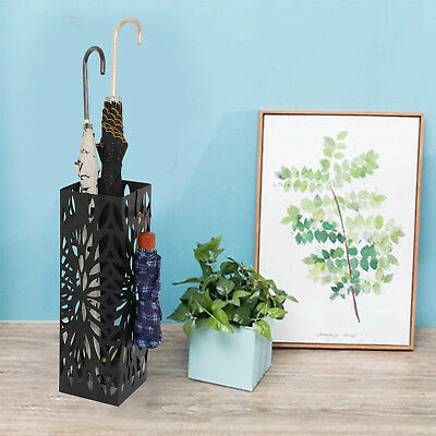 Square Shape Umbrella Stand Rack Metal Body Home Office Entryway W/ 4 Hooks